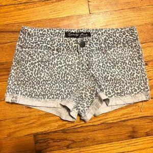 Cheetah print jean shorts